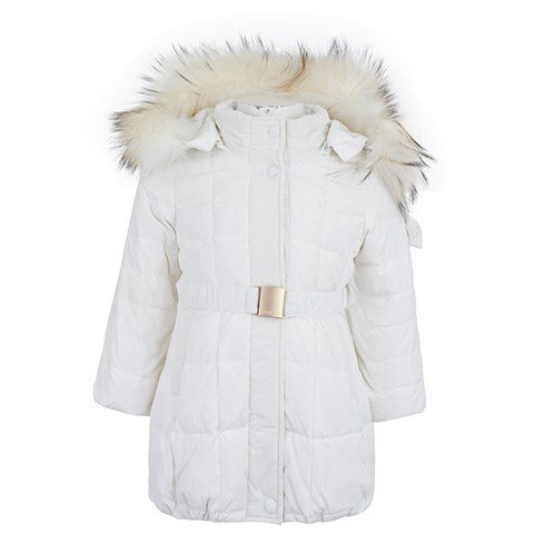 Monnalisa White Puffa Coat with Real Fur Trim | AlexandAlexa