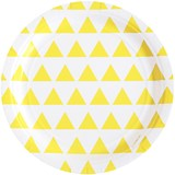 My Little Day Pack of 8 Yellow Triangle Print Paper Plates