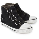 Ash Shoes Black Suede Buckle Hi Top Trainers