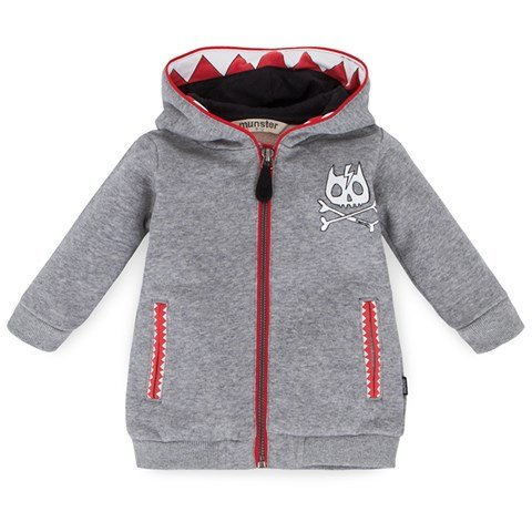 Munster Kids Grey Hoodie with Teeth Detail