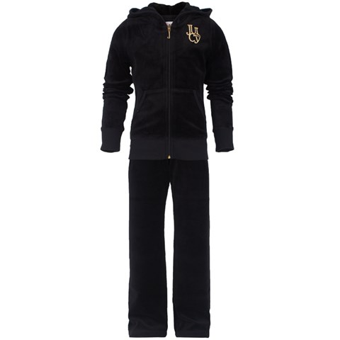 Juicy Couture Black Velour Dog Print Tracksuit