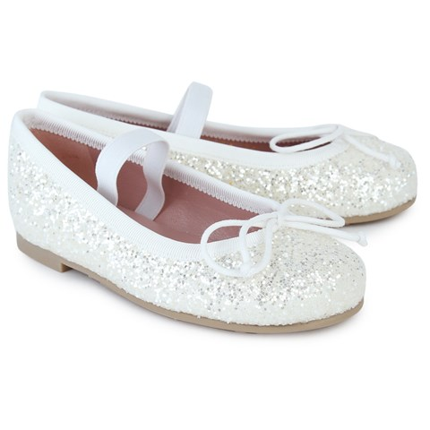 Pretty Ballerinas White Glitter Ballet Pumps  97a399aeb