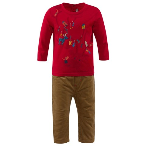 Red Tee And Tan Trouser Set