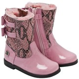 Monnalisa Pink Patent And Snakeskin Boot