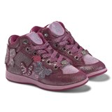 Lelli Kelly Pink Jewelled Butterfly Hi Top Trainers