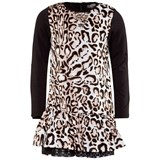 Miss Grant Black and Leopard Print Jersey Dress