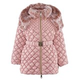 Microbe by Miss Grant Pink Diamond Quilted Coat With Faux Fur Collar