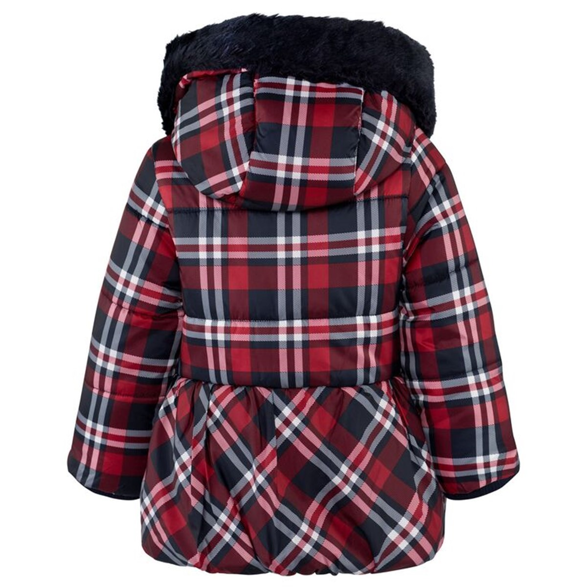 2fd7e4a52 Mayoral Red and Navy Tartan Quilted Hooded Coat | AlexandAlexa