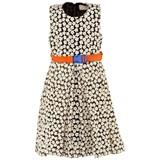Preen Mini Floral Embroidered Dress With Orange Belt