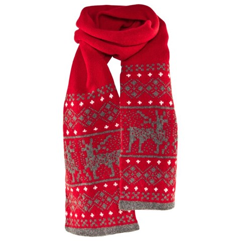 Barbour Red And Grey Fair Isle Scarf | AlexandAlexa