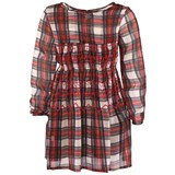 Preen Mini Red Tartan Dress With Waist Detail