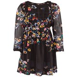 Preen Mini Black Multi Floral Dress With Gathered Waist
