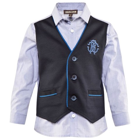 Pale Blue Cotton Poplin Shirt With Faux Waistcoat