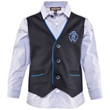 Roberto Cavalli Pale Blue Cotton Poplin Shirt With Faux Waistcoat