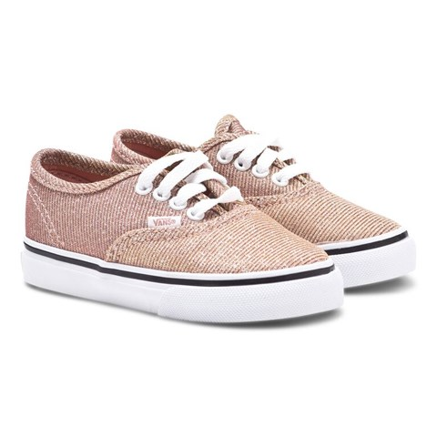 8e39307f7631ef Vans Rose Gold Glitter Authentic Trainers