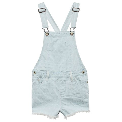 Embroidered Cut Off Dungarees