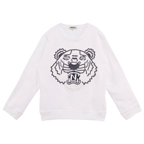 White Beaded and Embroidered Tiger Sweatshirt