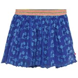 Le Big Blue Floral Embroidered Net Skirt with Glitter Waistband