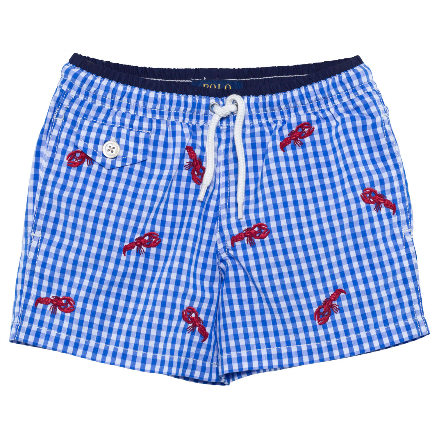 2678767a6b04 Ralph Lauren Blue Gingham and Lobster Embroidered Swim Shorts ...