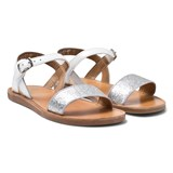 Pom D'api White Glitter Plagette Buckled Sandals