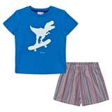 Paul Smith Junior Blue Dinosaur and Stripe Short Pyjamas
