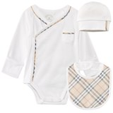 Burberry 3 Piece Body, Bib and Hat Gift Set