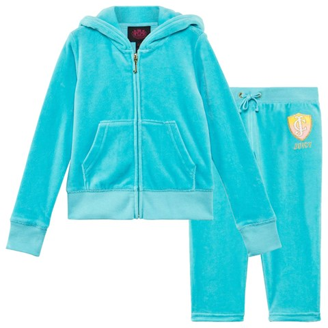 Aqua Blue Sequined Winged Logo Velour Hoodie