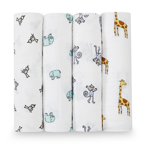 Aden + Anais Pack of 4 Cotton Jungle Print Swaddles