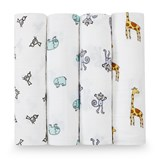 Aden + Anais 4 Pack of Cotton Jungle Print Swaddles