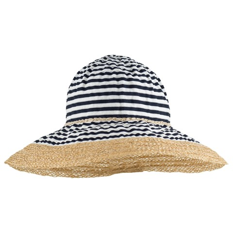 Grevi Navy and White Stripe Straw Wide Brimmed Hat  c4c553fa688