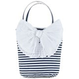Grevi Navy and White Tiered Handbag with Bow