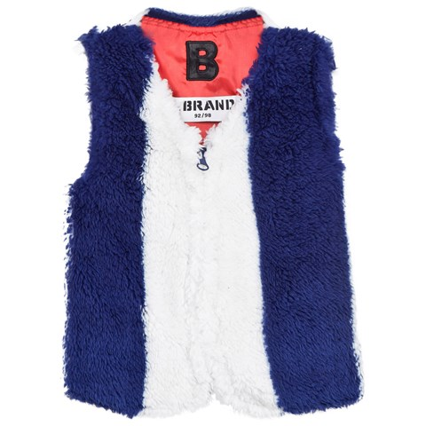 Blue and White Faux Fur Gilet