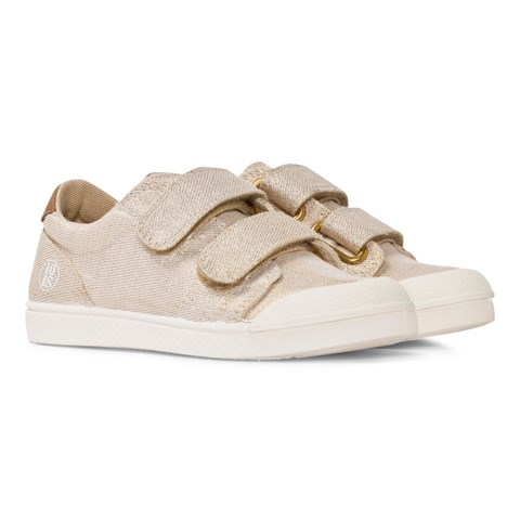 10 IS Gold Shimmer Velcro Trainers