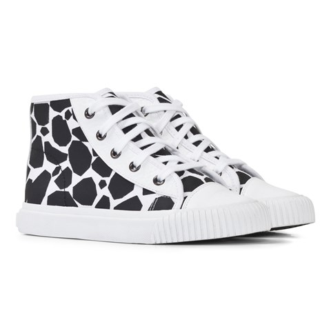 Burberry Black and White Spot Hi-Top Trainers