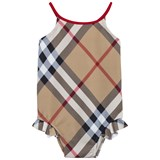 Burberry Beige Check Frill Swimsuit