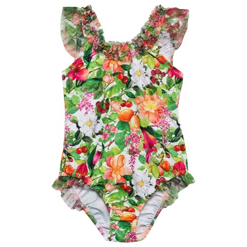 Mayoral Floral Swimsuit With Bow Back Alexandalexa