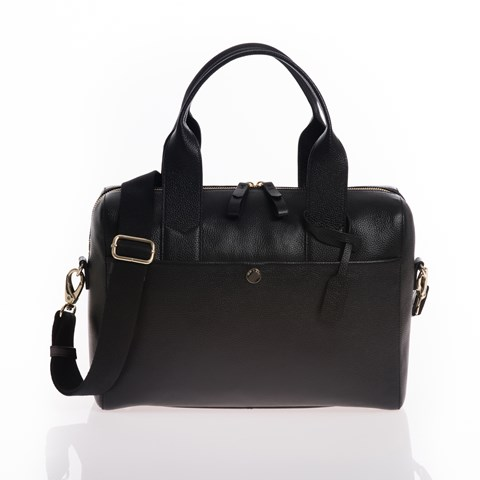 Jem + Bea Black Leather Amber Changing Bag