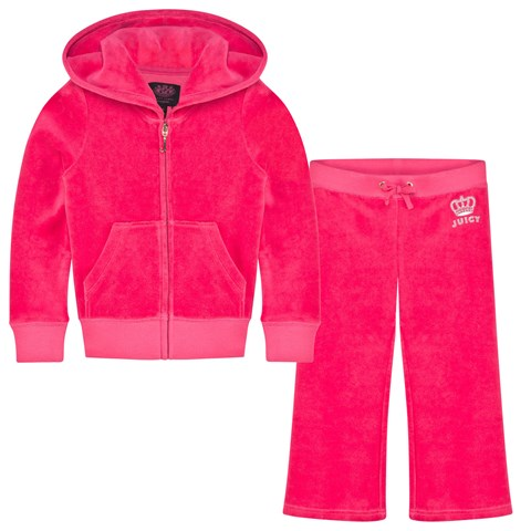 Hot Pink Diamante Logo and Crown Tracksuit