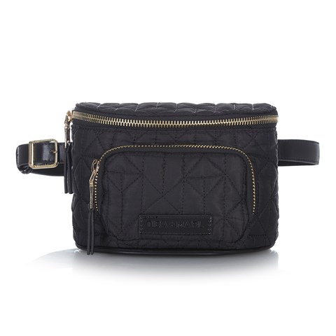 Tiba + Marl Delphine Black and Gold Bum Bag