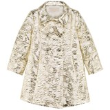 I Pinco Pallino Gold and White Couture Jacquard Double Breasted Coat