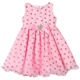 Lesy Candy Pink Glitter Heart Print Dress with Diamante Heart Belt