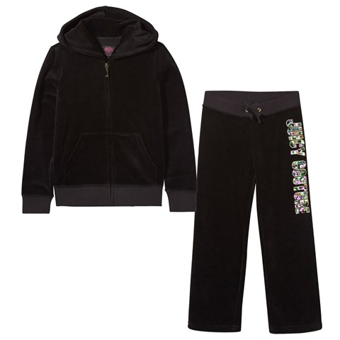 Black Multi Sequin Logo Tracksuit