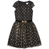 David Charles Black and Gold Printed Dress with Velvet Jewelled Belt