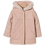 Chloé Pink Quilted Wool Coat with Faux Fur Trim