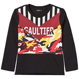 Junior Gaultier Black Stripe and Camo Branded Tee