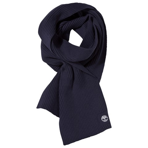 Navy Knitted Scarf with Emboidered Logo