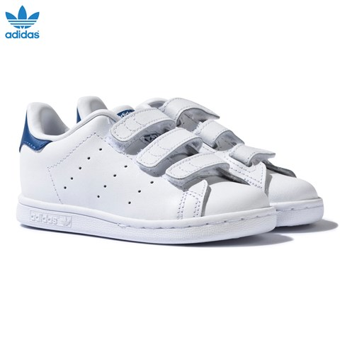 White and Blue Infants Stan Smith Velcro Trainers