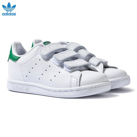 White and Green Infants Stan Smith Velcro Trainers