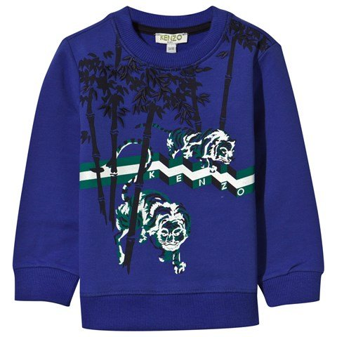 Royal Blue Tiger and Jungle Print and Embroidered Sweatshirt