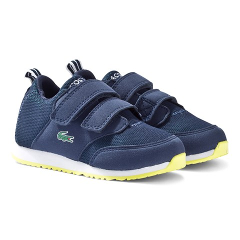 e422296b8983d3 Lacoste Navy and Green Light 316 Velcro Infants Trainers